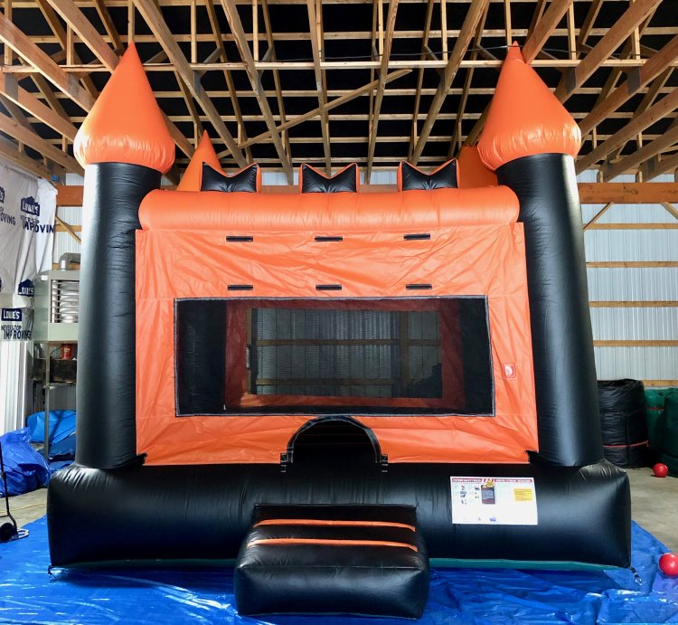 Black & Orange Castle Bounce House (Large)