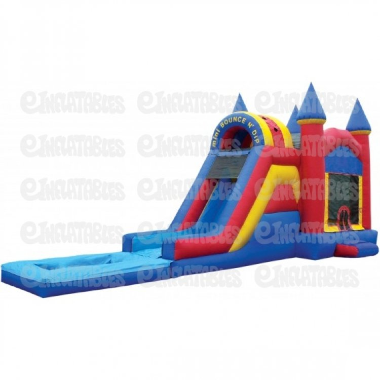 castle with pool med 1590351423 big BOUNCE N DIP SINGLE LANE W/ POOL